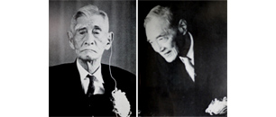"Mr. Yasuzaemon Matsunaga (left) and Mr. Seiichiro Takahashi (right) both received the Honorary Degree of Doctor in 1968. Mr. Matsunaga, who was the oldest Keio graduate at the time (93 years old), attended the ceremony in a wheelchair and expressed his gratitude, saying, ""I am so happy it feels like I'm going to heaven."""