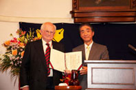 President Anzai confers the Honorary Degree of Doctor upon Prof. Mathias